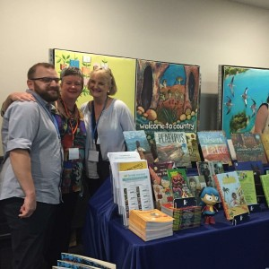 Walker Book's incredible Steve Spargo, all round amazing author and friend, Claire Saxby and I at the CBCA Walker Books stand.