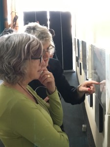 Carole Wilkinson and Corinne Fenton awed by Jeannie Baker's skill and precision.